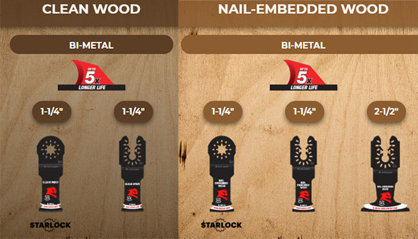 Diablo Oscillating Multi-Tool Blades for Cutting Wood and Nail-Embedded Wood